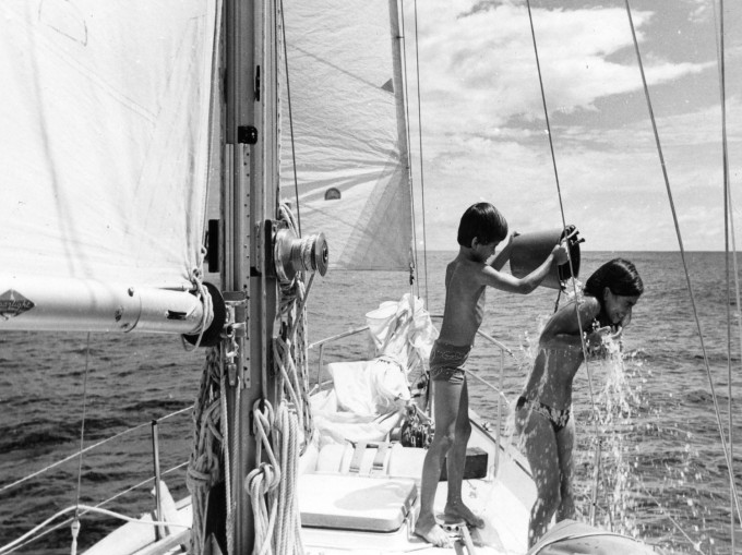 Doina and Ivan take a salt water shower crossing the Atlantic