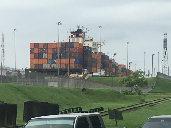 Container ship in Gatun locks