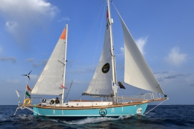 PPL Photo Agency - Copyright free for editorial use only Photo Credit: Christophe Favreau/PPL/GGR ***2018 Golden Globe Race. Commander Abhilash Tomy his Suhaili replica yacht THURIYA , photographed off Lanzarote, Canaries during the compulsory film drop off Marina Rubicon on 16th June 2018. The yacht was rolled and dismasted in the South Indian Ocean (1,900 miles SW of Perth, Australia) on 21st September and a full rescue organised by the Australian Maritime Rescue Co-ordination Centre in Canberra to repatriate the inured solo sailor.