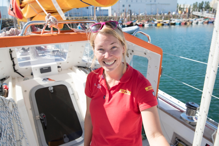 2018 Golden Globe Race - start of Race from Les Sables d'Olonne, France. Britain's Susie Goodall (DHL Starlight) was all smiles prior to leaving the dock in Les Sables d'Olonne, France for the start of the 2018 Golden Globe Race.