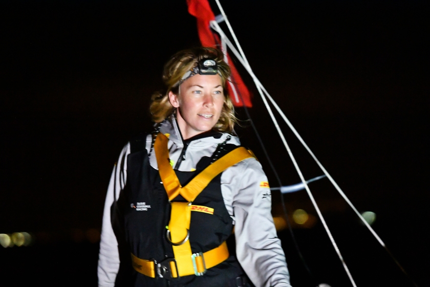 2018 Golden Globe Race - Susie Goodall (GBR)  Rustler 36 DHL Starlight, 5th GGR skipper to pass through the Marina Rubicon 'Gate' off Lanzarote in the Canaries.